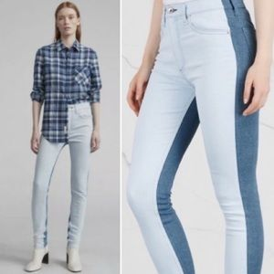 Rag & Bone High Waist Skinny Jeans in Double Blues